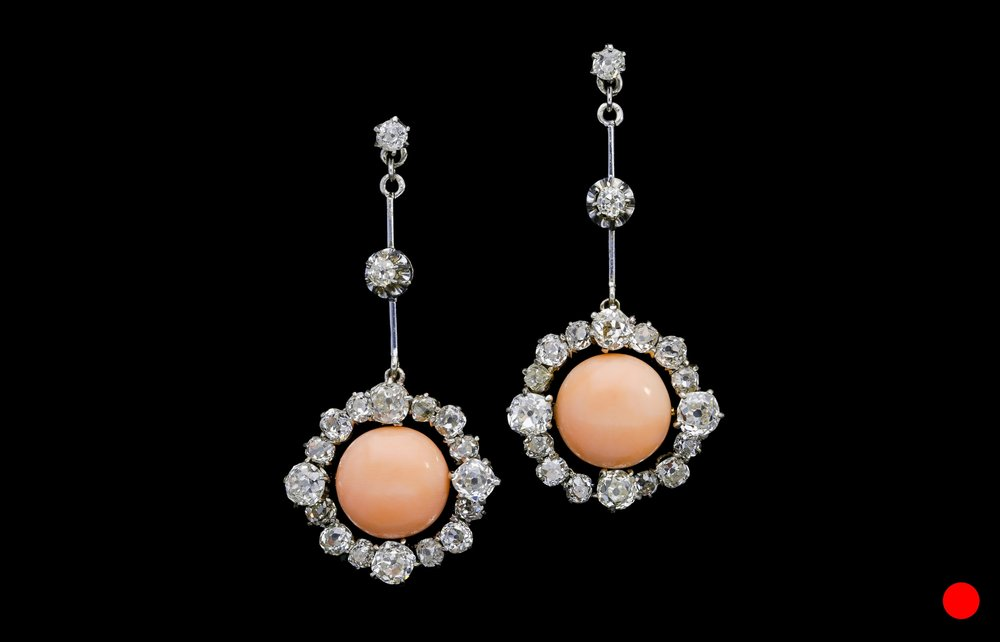 A stylish pair of Edwardian angel hair coral and diamond drop earrings set   £14500