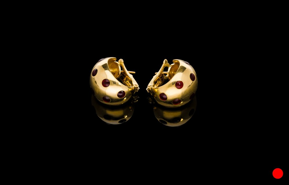 A pair of 1950's Van Cleef & Arples Basse-Taille red enamel polka dot 18ct earrings | £4950