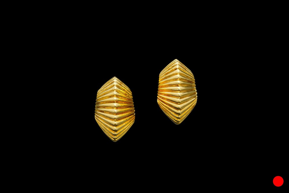 A pair of 1950's Tiffany 18ct yellow gold ridged clip earrings   £2650