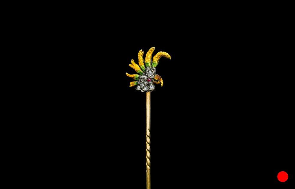 A Victorian Cockatoo enamel stick pin | £2450