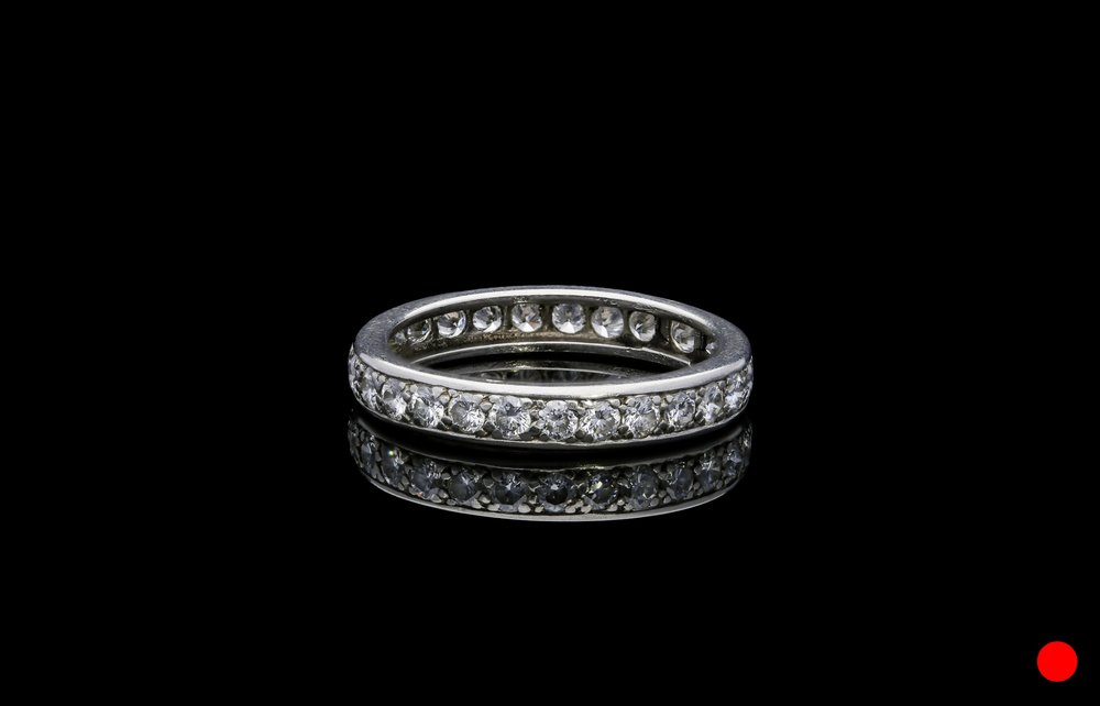 A 1950's French carre cut diamond half eternity ring set   £2475