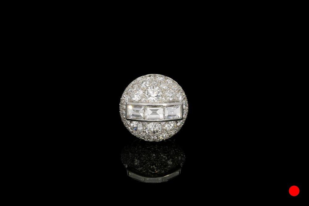 A divine 1930's diamond bombe ring   £15720