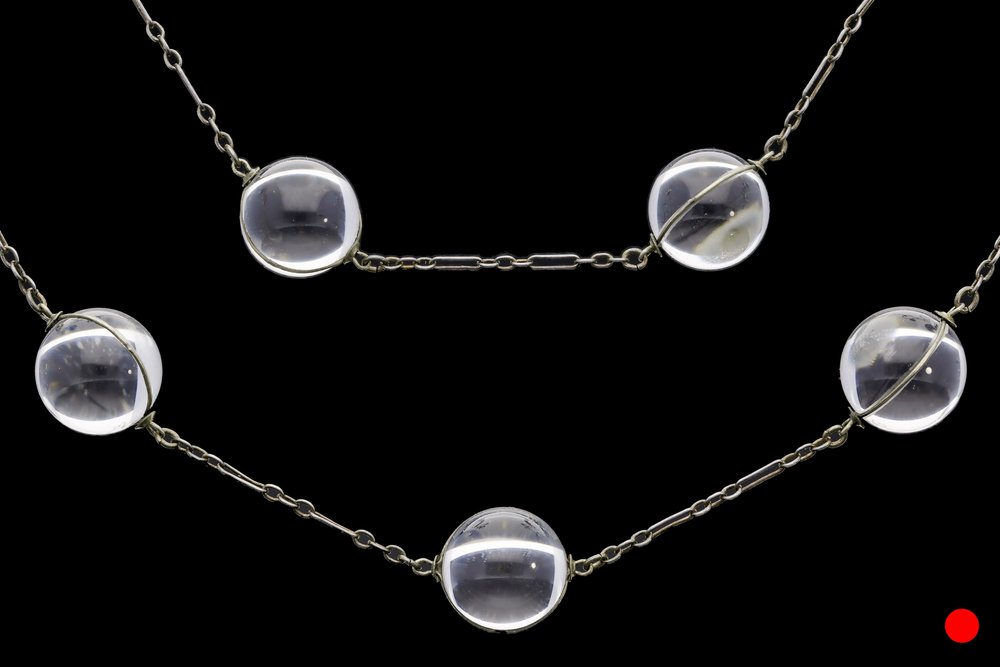 An exquisite Art Deco 'pools of light' necklace set in silver | £2850