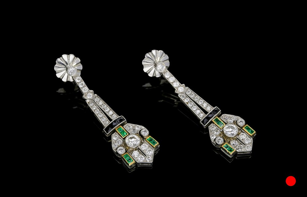 An exquisite pair of Art Deco emerald, onyx and diamond drop earrings set   £14500