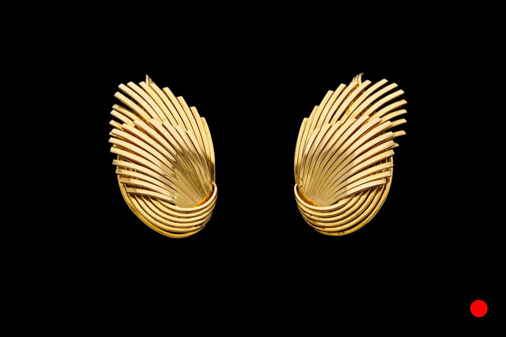 A sensational pair of 1960's 18ct yellow gold fan clip earrings   £4250