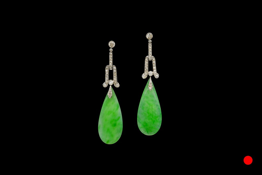 A pair of Art Deco jade and diamond drop earrings set   £9250