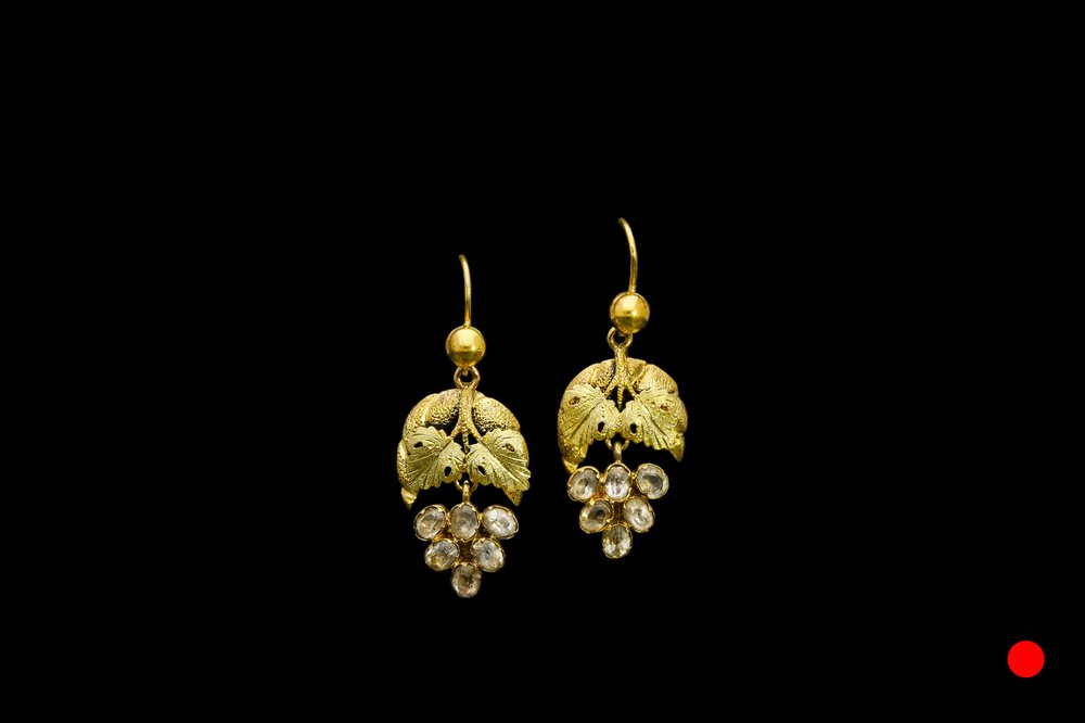 A pair of early Georgian grape bunch earrings   £1750
