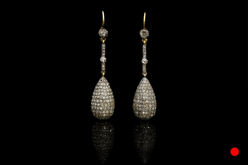 A remarkable pair of late Victorian rose cut diamond drop earrings   £7260