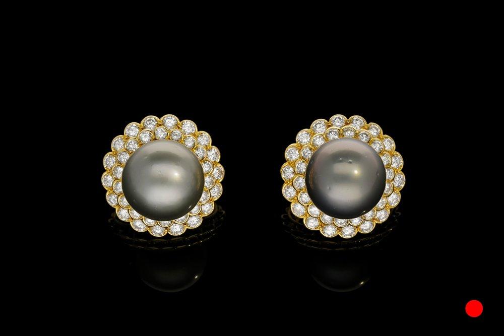 A magnificent pair of 1970's Boucheron Paris Tahitian pearl and diamond earrings set   £14850