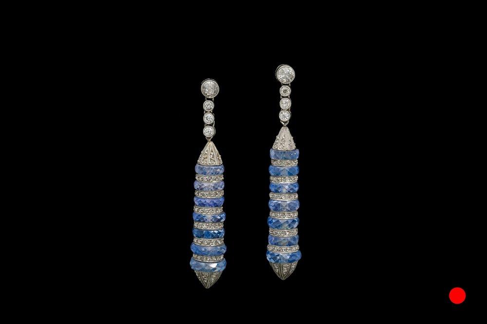 A fantastic pair of sapphire and diamond ear-pendants   £7140