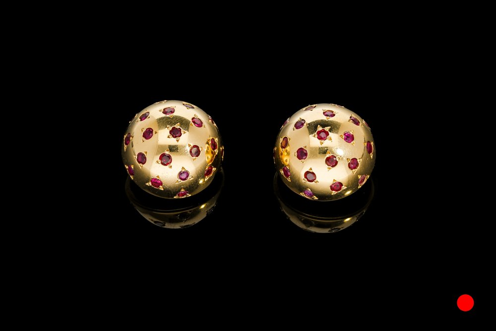 A stunning pair of French Van Cleef & Arples ruby polka dot ear clips   £6250