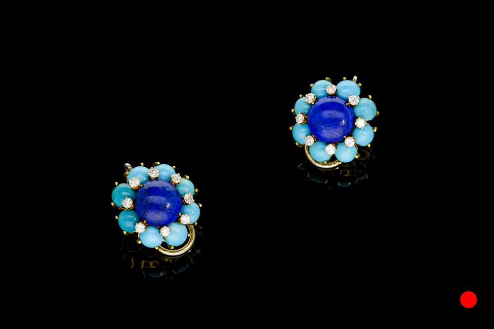 A stunning pair of 1950's Cartier lapis lazuli, turquoise and diamond clip earrings set   £9250
