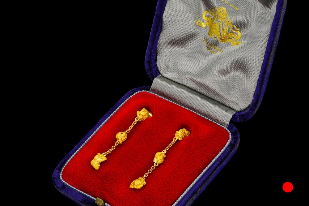 A pair of natural gold nugget earrings   £1675