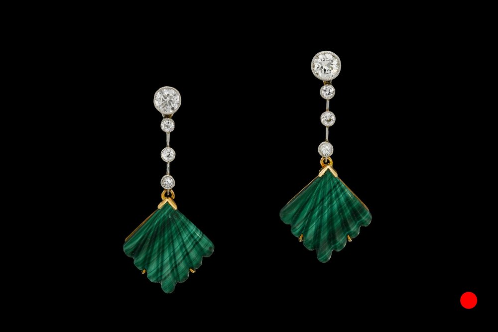 A stunning pair of Art Deco malachite and diamond drop earring set   £4200