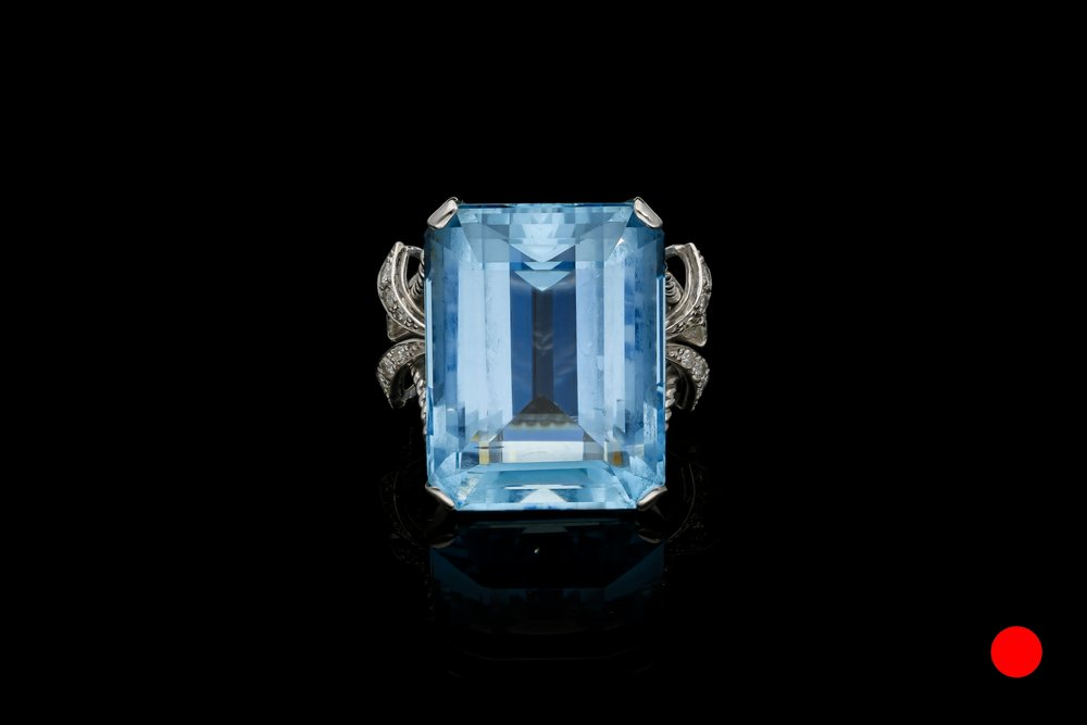 A 1950's aquamarine & diamond cocktail ring   £7450