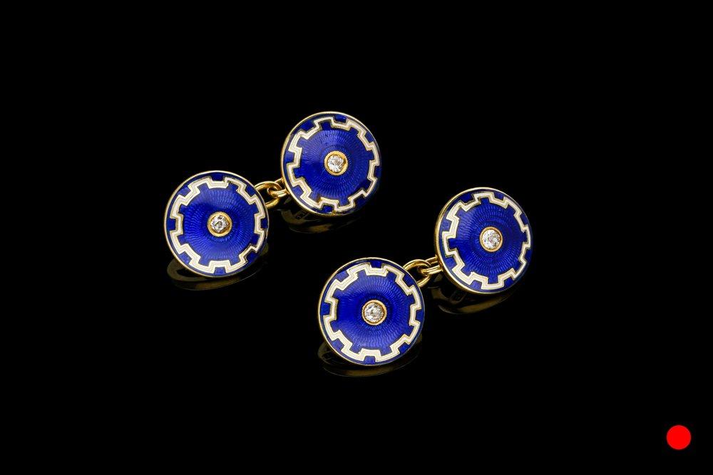 An Edwardian guilloche cufflinks | £2650
