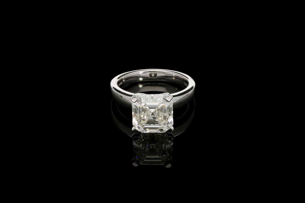 A 5.01ct Asscher cut diamond ring | £76900