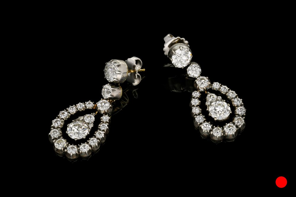 A pair of truly phenomenal Old European cut diamond drop earrings | £68500