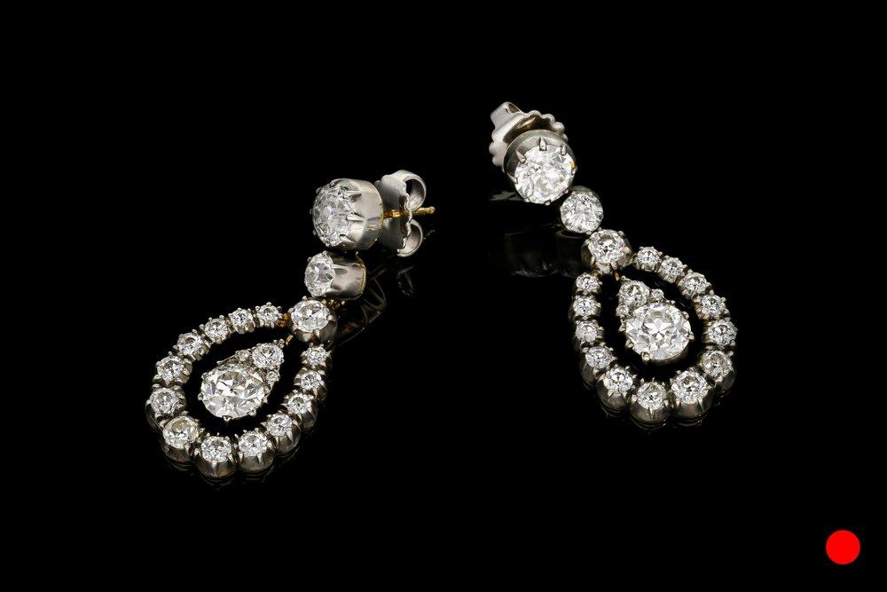 A pair of truly phenomenal Old European cut diamond drop earrings   £68500