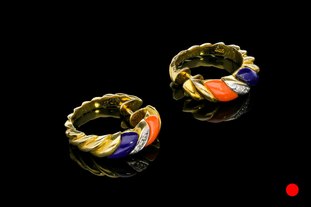 A pair of 1960's 14ct yellow gold lapis lazuli, coral and diamond set ridged hoop earrings   £2250