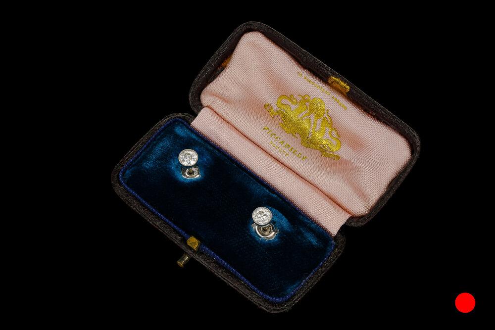 A pair of Old European cut diamond stud earrings set   £2480