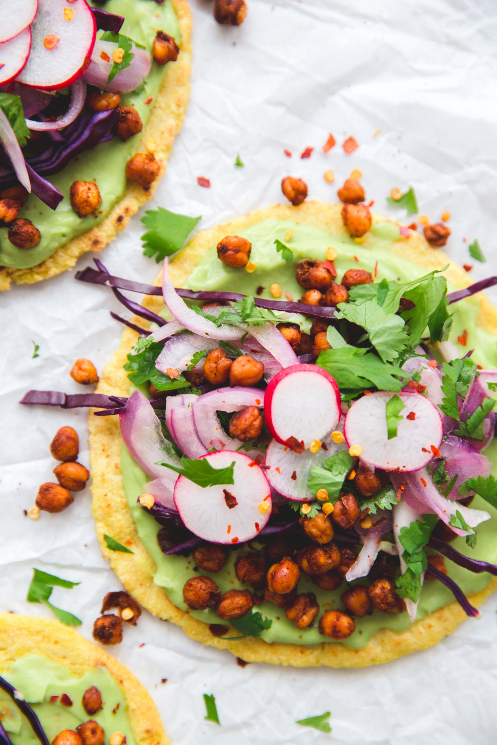 Roasted Chickpea Tacos with Avocado Cream and Salsa Criolla, (Edible Ottawa), recipe and photo by Kylah Dobson
