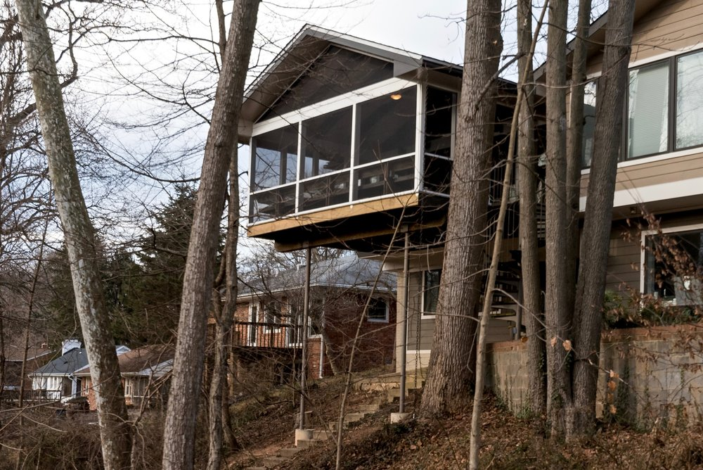 Floating porch among the trees