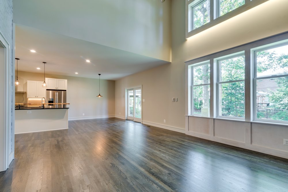 Long-distance view of this kitchen shows gorgeous natural lighting