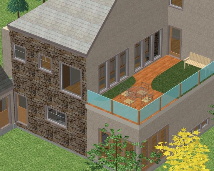 A rendering of this home's back view