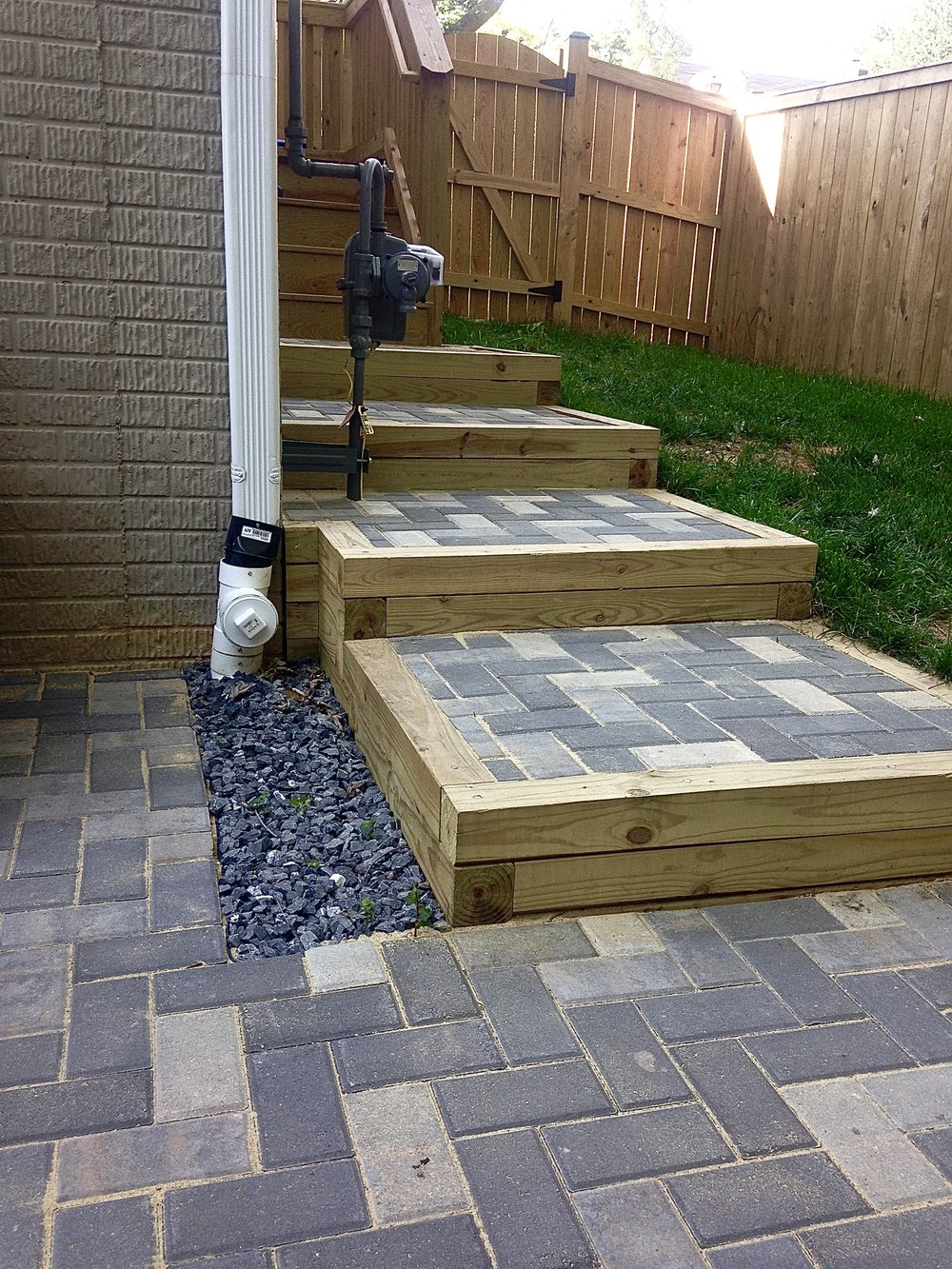 These steps match the pattern of the newly installed patio