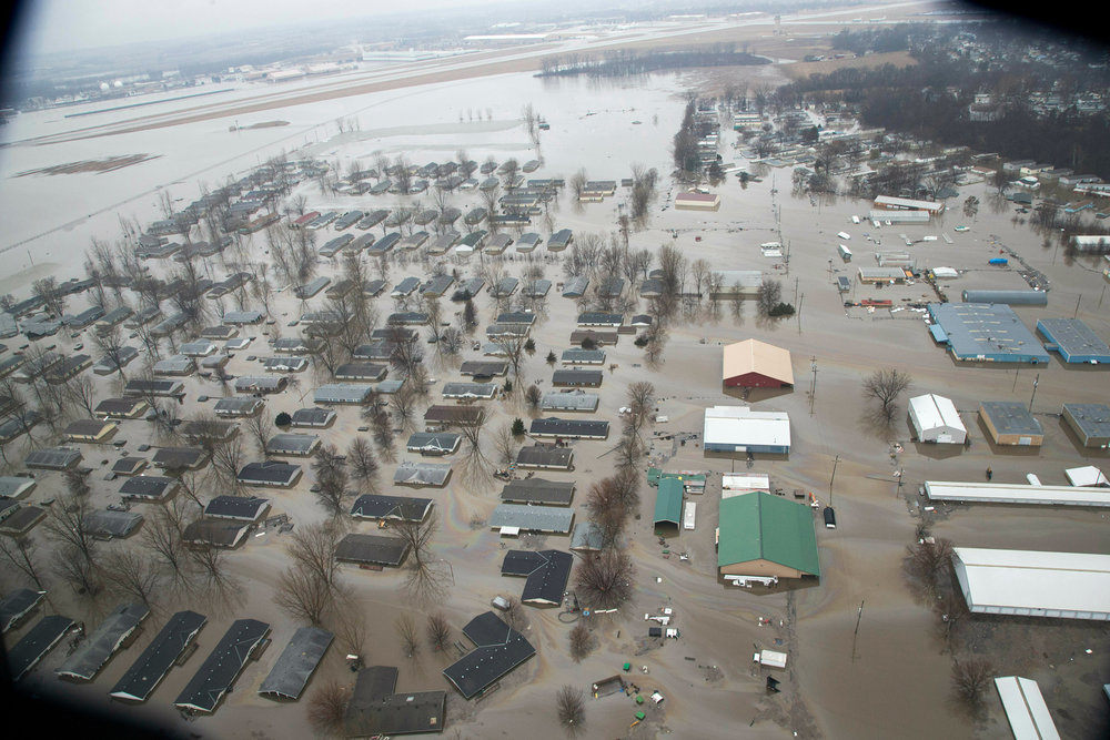 A neighborhood in Bellevue, Nebraska, flooded by waters from the Missouri River in March  Nati Harnik/AP/REX/Shutterstock