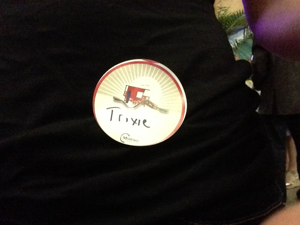 """This is me at a party a few years ago (yes- i know you can't tell), but the whole """"Trixie"""" thing started several years ago. Just to be silly, I would purposely write a different name on a name tag when at a party or at Starbucks"""