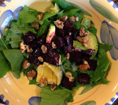 Romaine lettuce, roasted beets, walnuts and sliced avocado with Zippy Apple Cider Vinaigrette