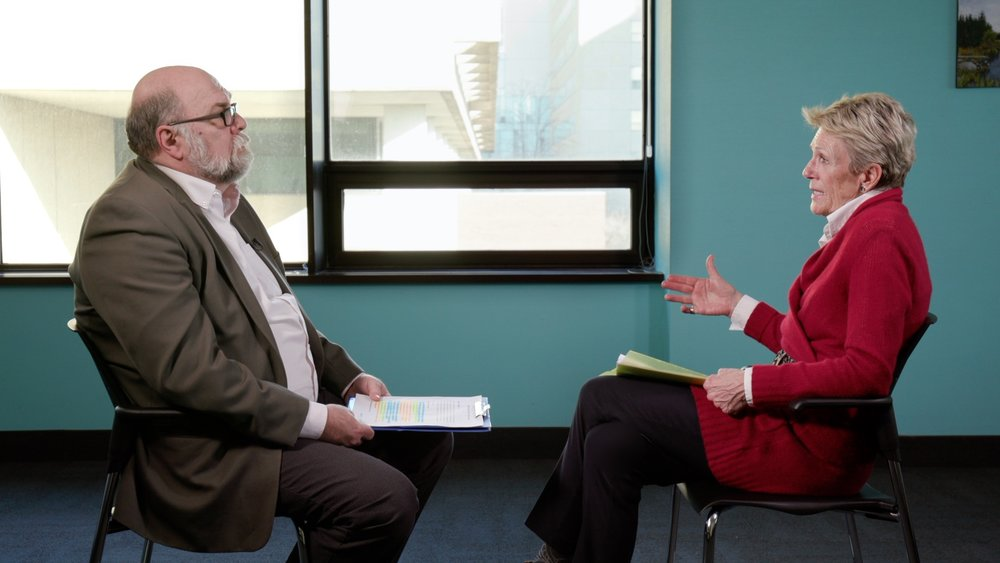 Council Chair Susan Pigott speaks with Robert Moore, Executive Director of the Provincial System Support Program at the Centre for Addiction and Mental Health (CAMH).