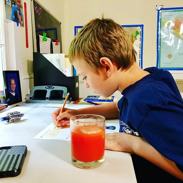 Doing my work, drinking fresh juice #thanksmom #redjuice #freshpressed #homeschooled #drinkhealthy #diabetessucks #diabeteslookslikeme