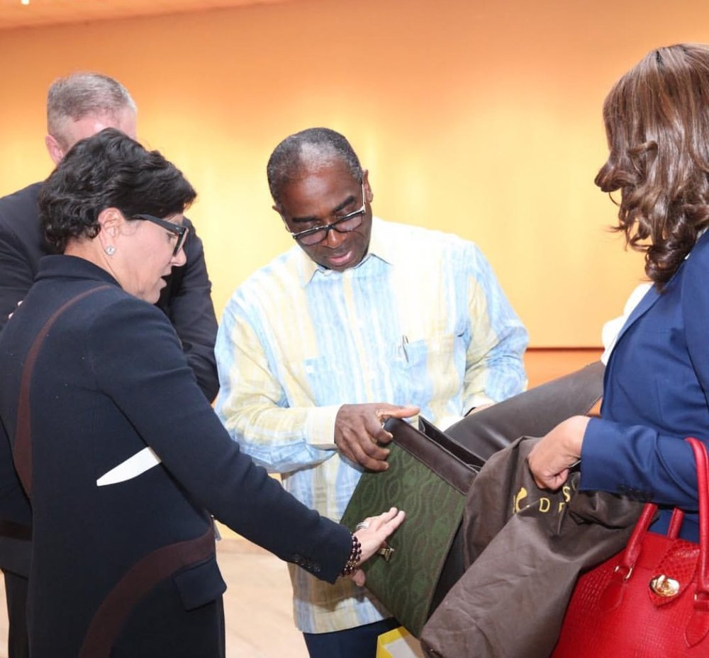 Olusegun Awolowo presenting a locally made Product to Former U.S Secretary of Commerce, Penny Pritzker