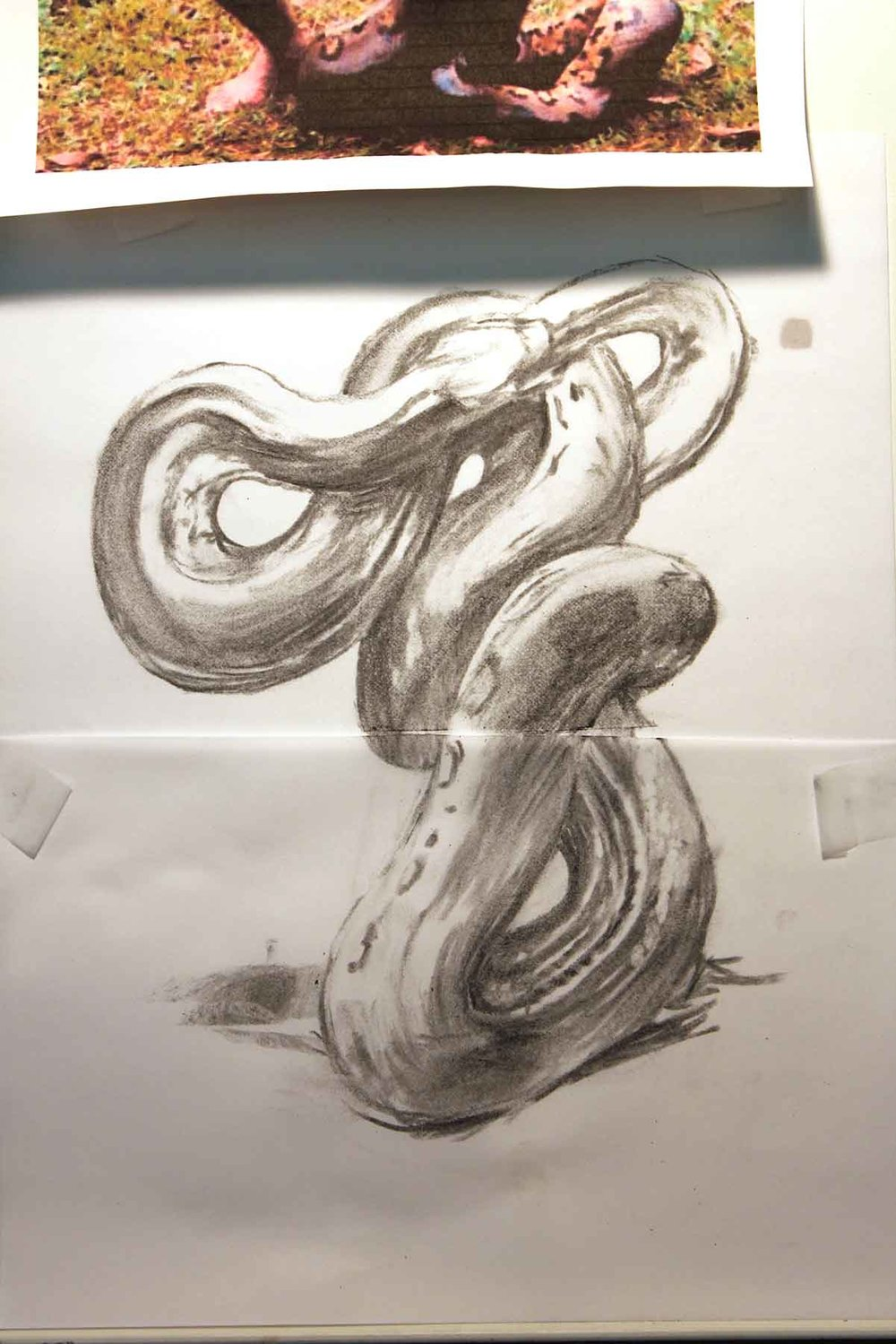 The concept for this next painting involved trying out different coils for the snake's base.