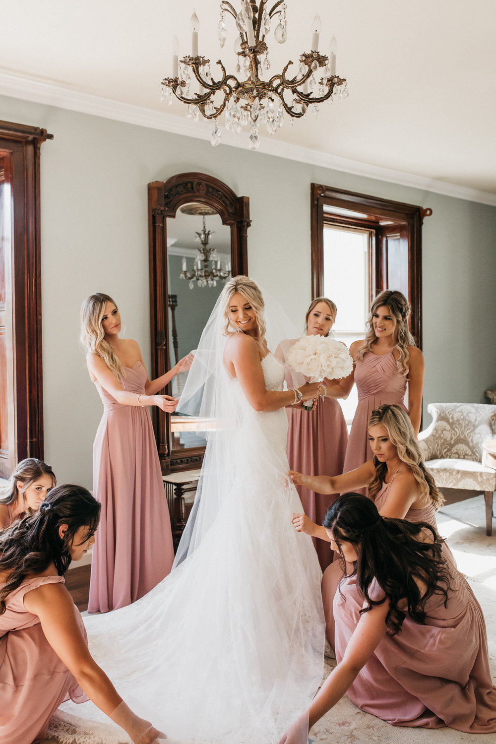 Bride with Bridesmaids Elliston Vineyard Sunol.jpg