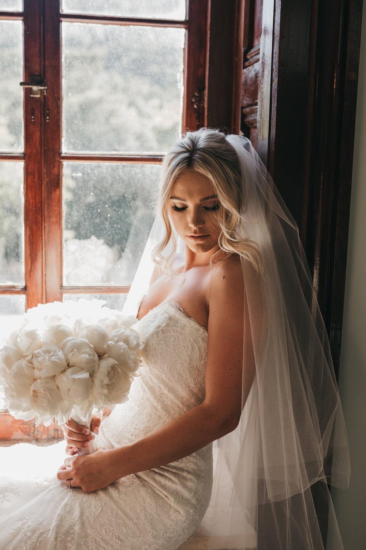 Bride in Window Elliston Vineyard Sunol