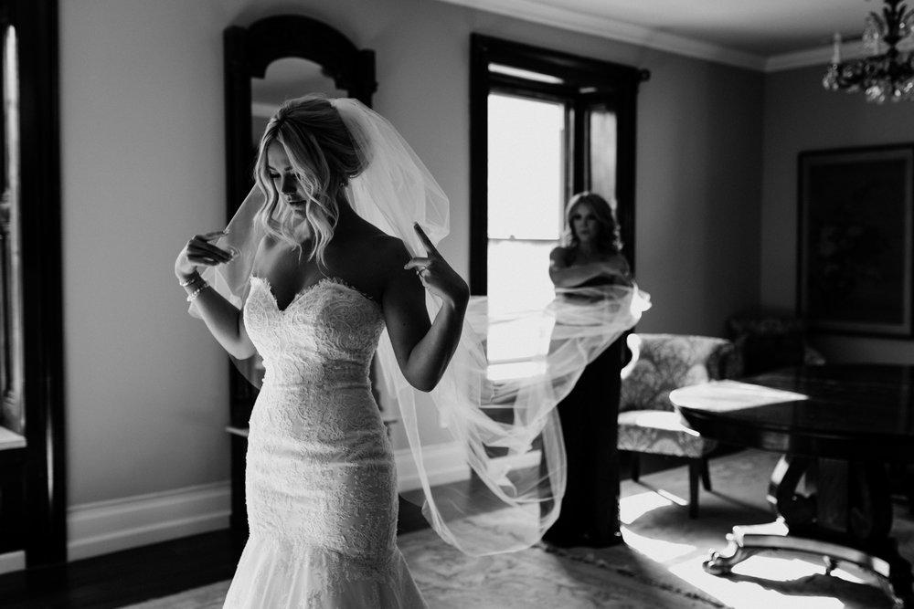 Mom helping Bride Elliston Vineyard Sunol
