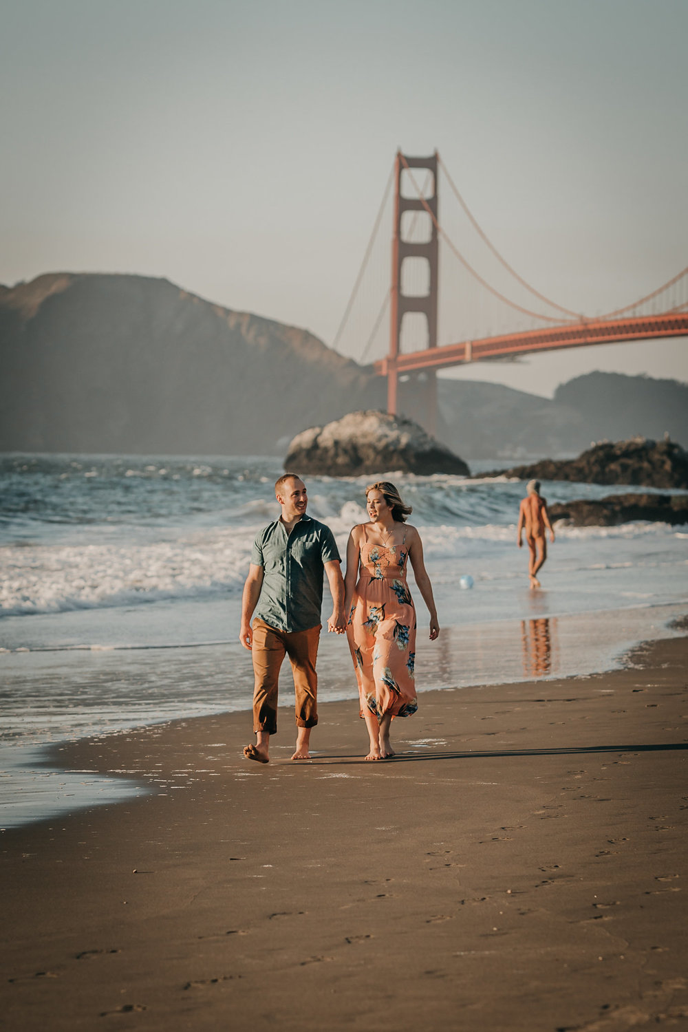 Baker Beach Engagement Photo Nudist