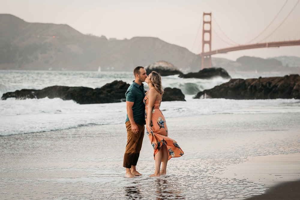 Baker Beach Engagement Shoot Golden Gate Bridge