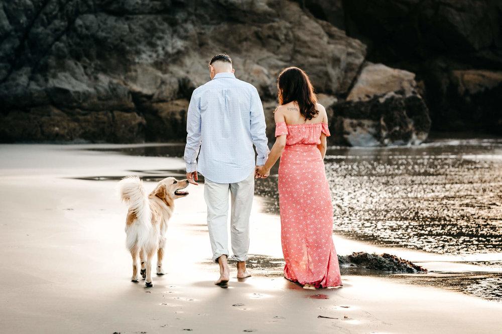 China Beach Engagement Dog
