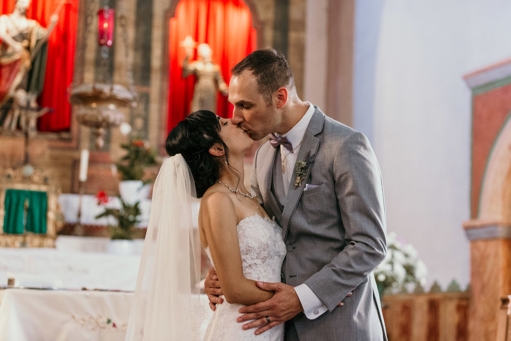 San Juan Bautista Church Wedding First Kiss
