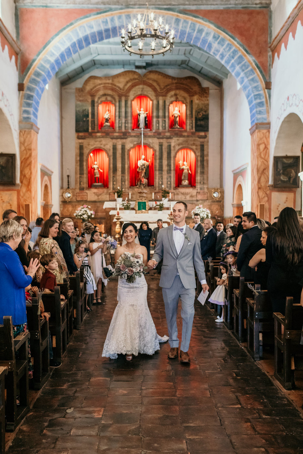 San Juan Bautista Church Wedding Wife Groom Recessional