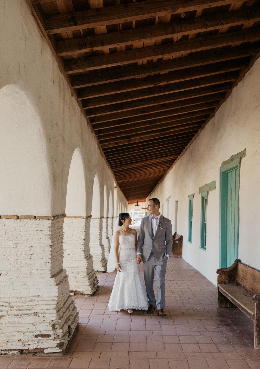 San Juan Bautista Church Wedding Bride Groom Walking