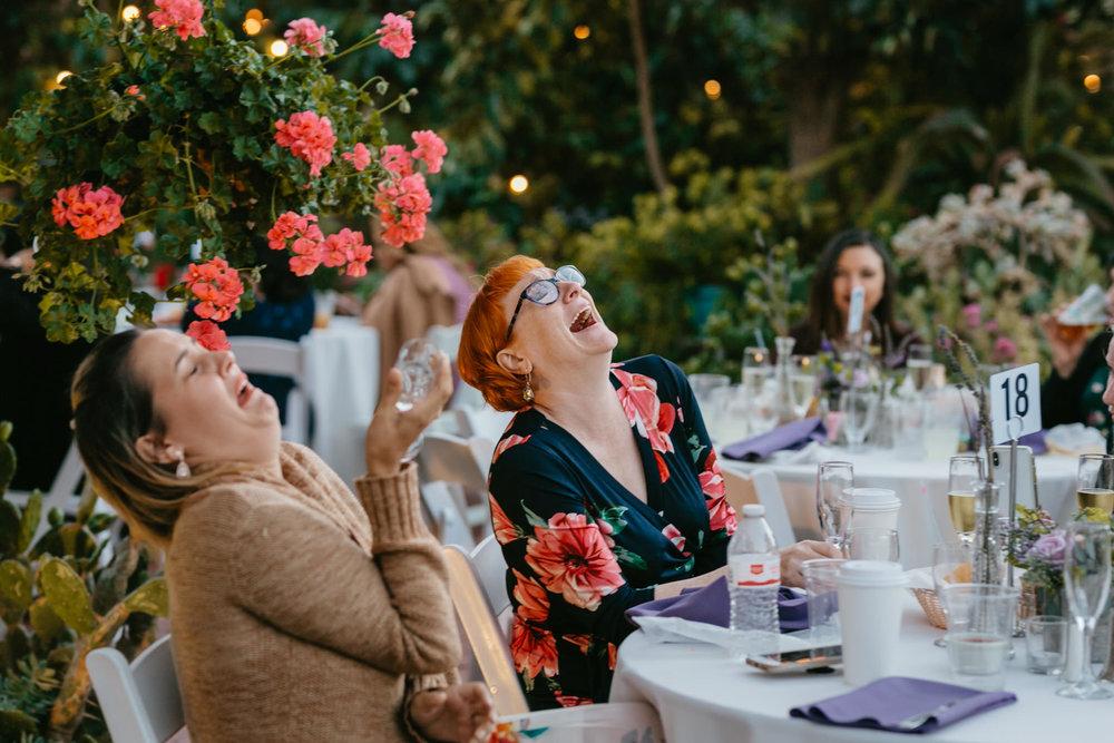 Jardines Outdoor Garden Wedding Reception Guests Laughing