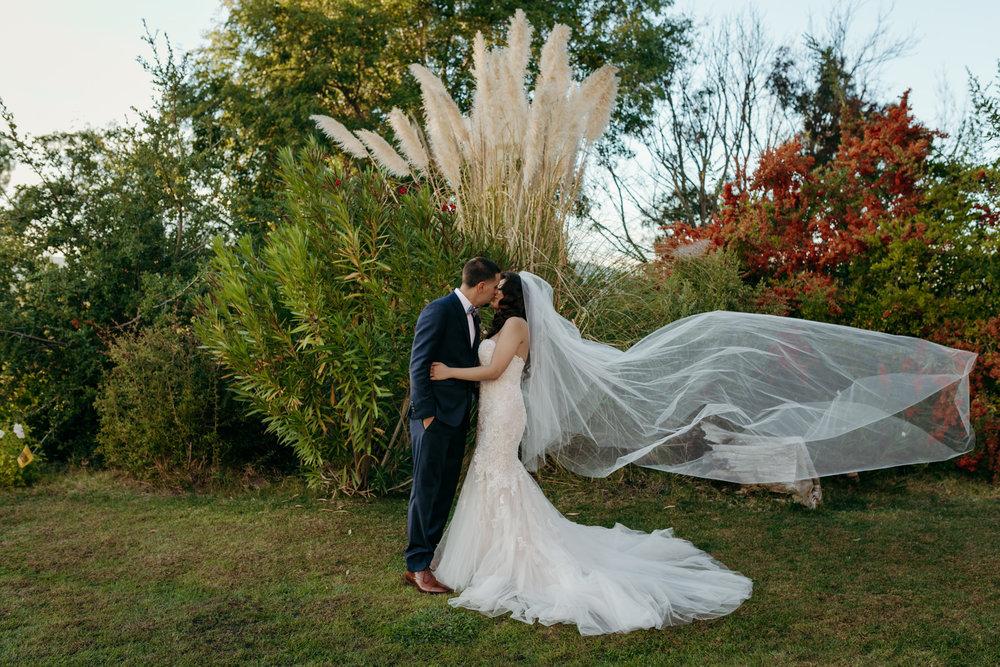 Wedding Kiss Veil blowing in wind