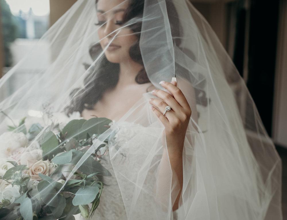 bride under veil wedding day