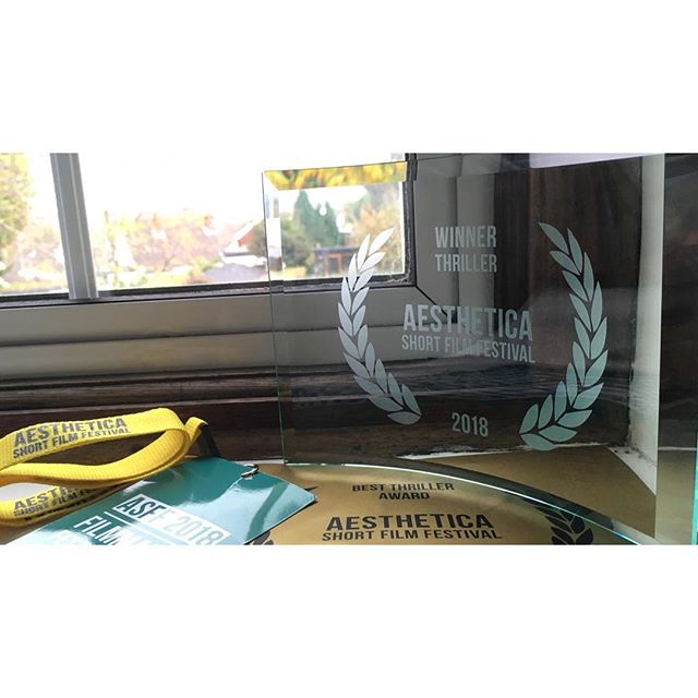 We picked up the Best Thriller at @asffestival this weekend, following on from winning Best Narrative Short at @bendfilmfestival a few weeks ago. We'll be at @norwichfilmfestival and @kinofilmmcr later this month too. Cheers to everyone who helps organize these events; the effort is clear to see! #shortfilm #filmfestival #asff2018 #asff #walefilm #manchesterfilm #norwichfilmfestival @bafta @theacademy